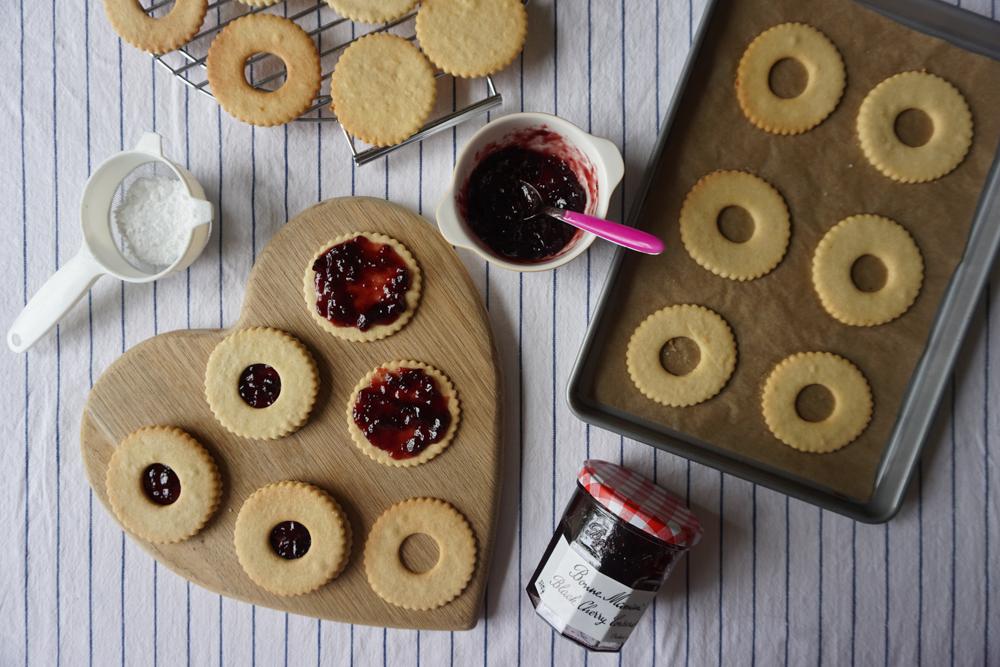 Cherry Linzer Biscuits